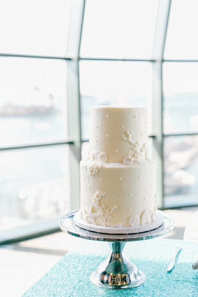 Nautical themed two-tiered white wedding cake