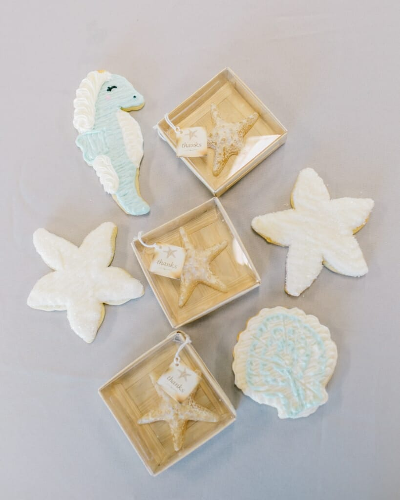 Nautical themed wedding favors and cookies