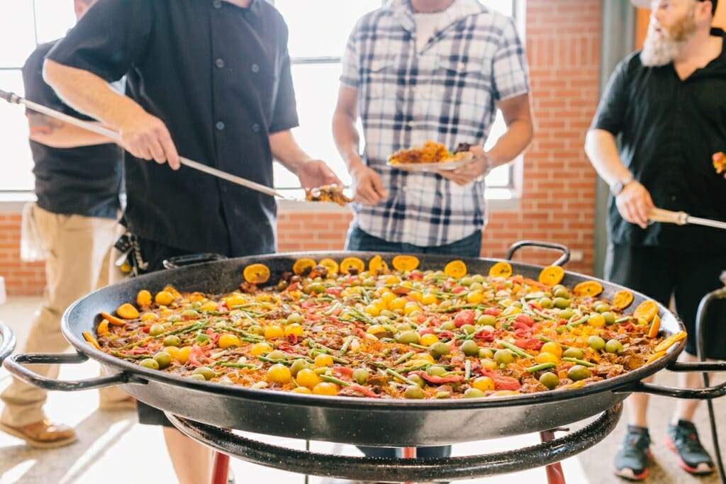 Beautiful paella at the reception dinner