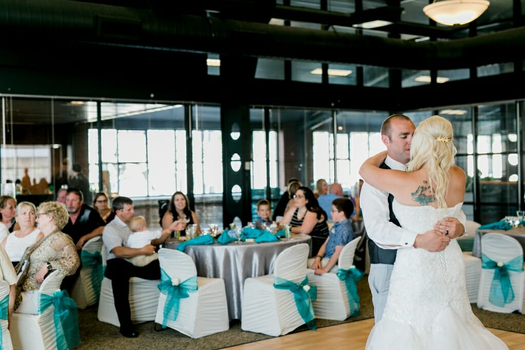 The first dance with the bride and groom