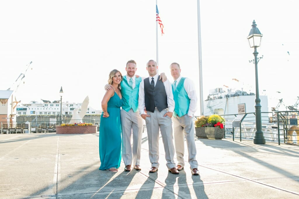 The groom and his wedding party at the Bellingham Cruise Terminal