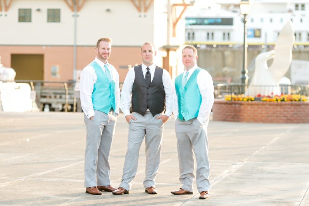 Groom and groomsmen at the Bellingham Cruise Terminal