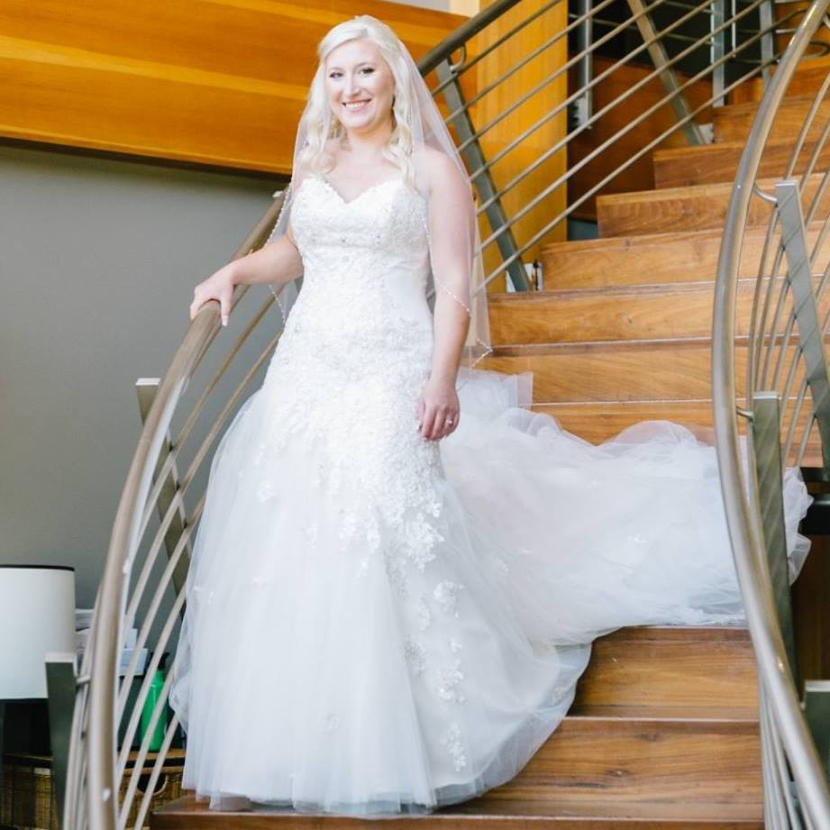 Bride on the staircase at Bellingham Cruise Terminal