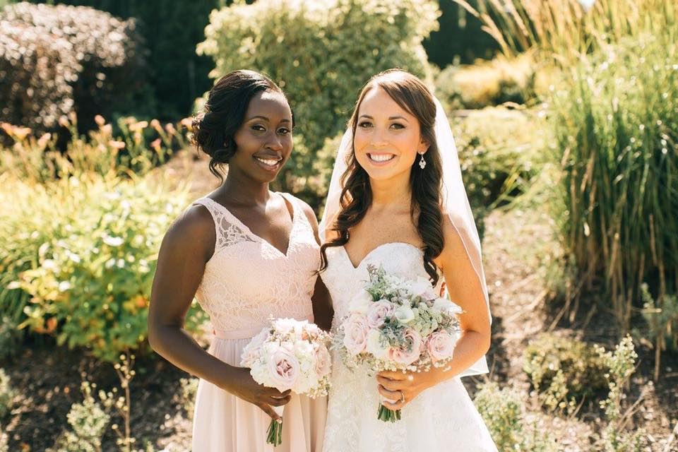 Bride and bridesmaid all smiles