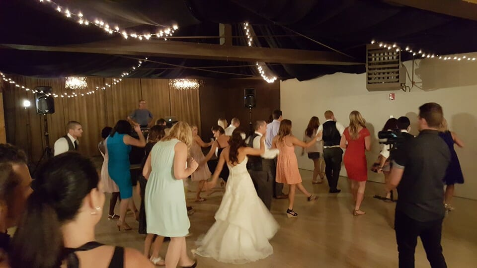 The reception dance floor at Lord Hill Farms venue