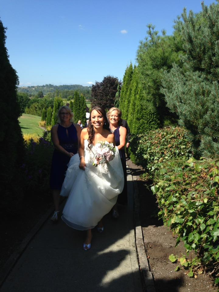 Bride lining up for ceremony at Lord Hill Farms venue