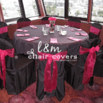 L&M Chair Covers logo with black and pink wedding reception setup