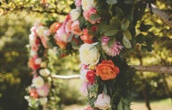Beautiful wedding ceremony arbor florals